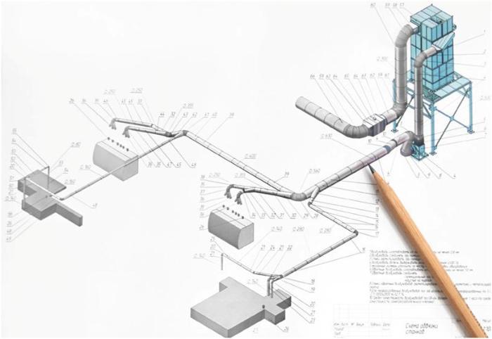 Процесс проектирования вентиляции на бумаге