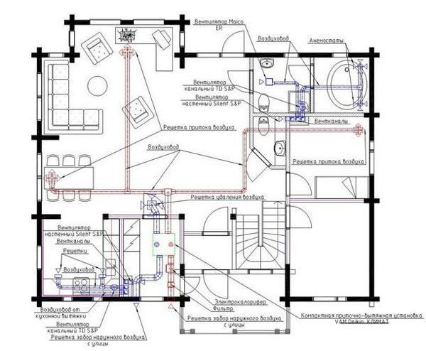 Пример чертежа вентиляционной системы частного дома