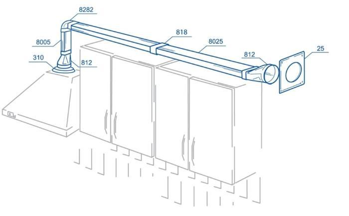 Фото: типовая схема установки вытяжного зонда из пластика