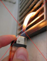 Проверка вентиляции зажигалкой