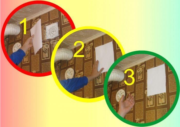 Рабочая вентиляция притянет лист бумаги