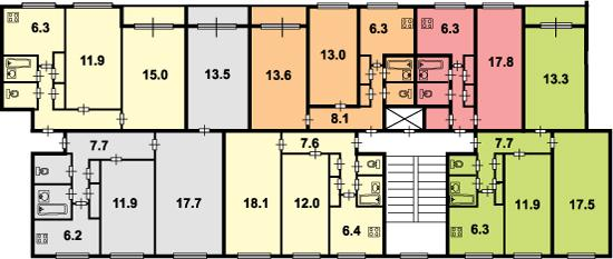 Дома серии 1-ЛГ-600А («корабли») широтной и меридиональной ориентации имеют разные планировочные решения