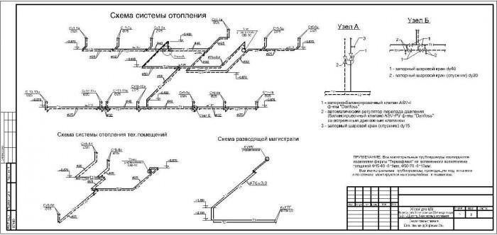 аксонометрическая схема системы отопления