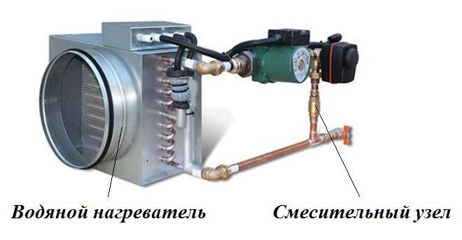 соединение смесительного узла с водяным нагревателем