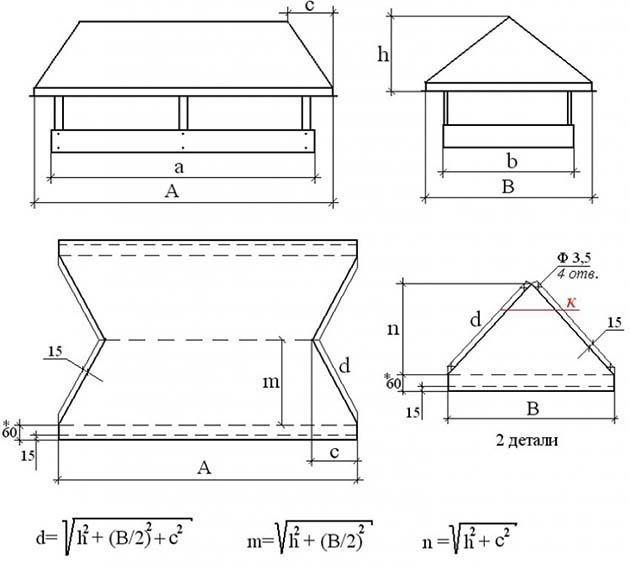 Выкройка двускатной насадки