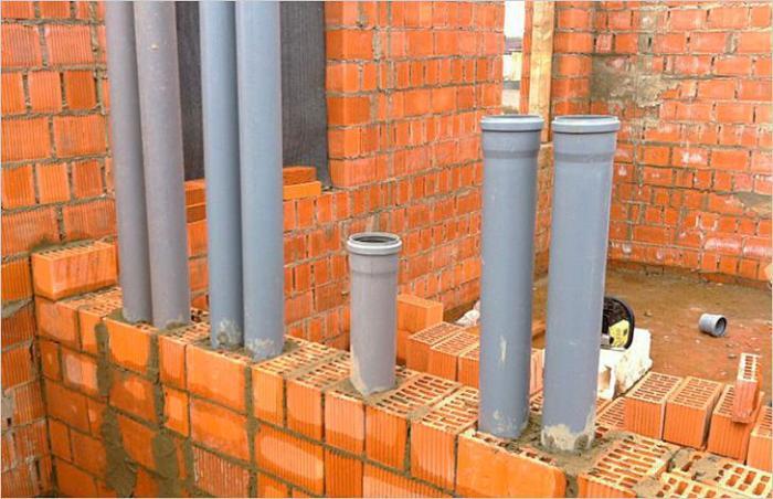 Канализационные и вентиляционные стояки из канализационных труб в кирпичной кладке