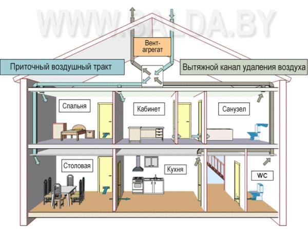 Схема вытяжки в различных помещениях