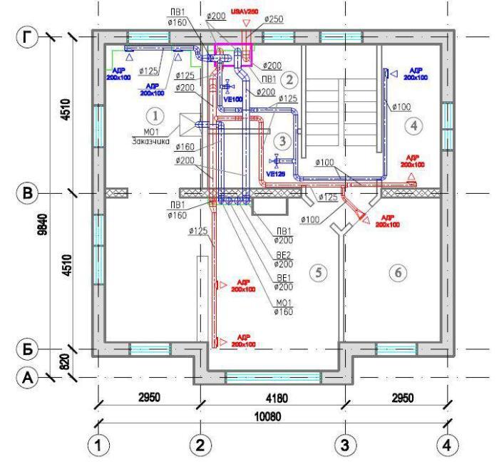 Чертеж-схема вентиляции коттеджа
