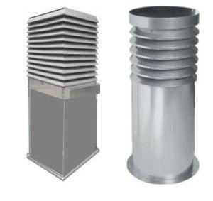 металлические трубы для вентиляционных шахт различных сечений уже с оголовками