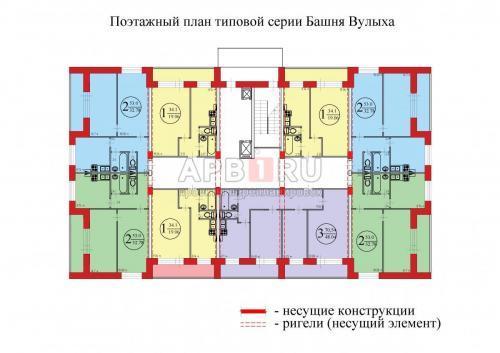 Поэтажный план типовой серии Башня Вулыха
