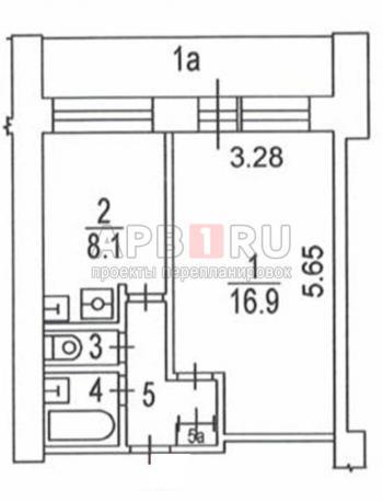 План БТИ 1 комнатной квартиры в Башне Вулыха